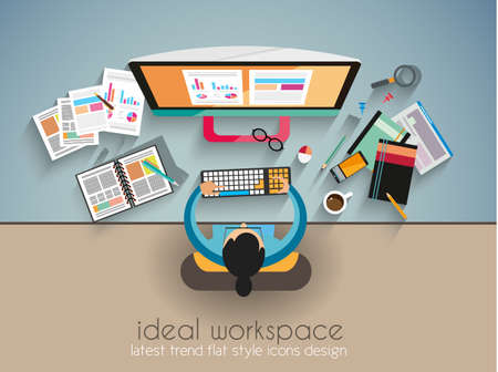 Illustration pour Ideal Workspace for teamwork and brainsotrming with Flat style. A lot of design elements are included: computers, mobile devices, desk supplies, pencil,coffee mug, sheeets,documents and so on - image libre de droit