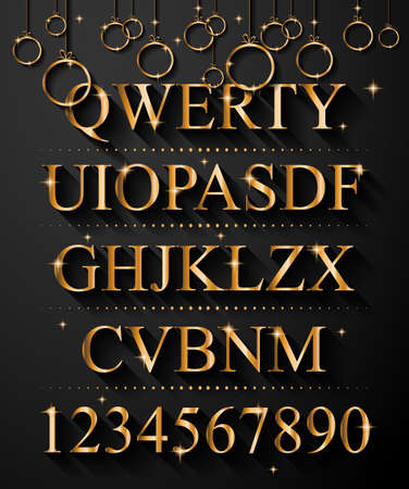 Christmas Golden Alphabet for party flyers or invitation cards. A lot of different colors easy to change in order to get infinite variants!
