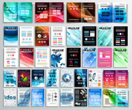 Set of Flyers, background, infographics, brochures, business cards, covers,teamwork concepts and so on. 32 pieces with different styles and colors.
