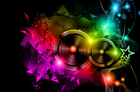 Disco Night Club Flyer layout with Speaker shape and music themed elements to use for Event Poster