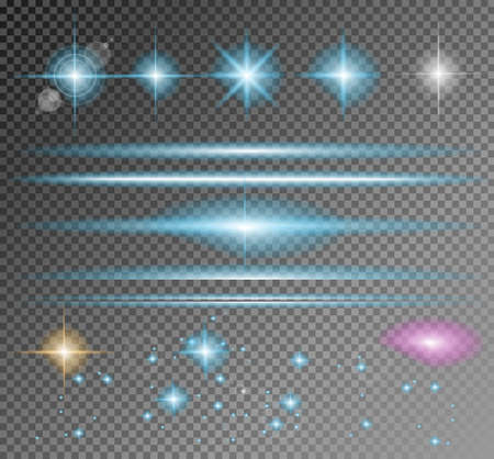 Vector Sparkle Collection with a lot of different Shapes: circolar lightning , point of lights, sparkle bars, cross sparkles. Ready to copy and past on whatever background