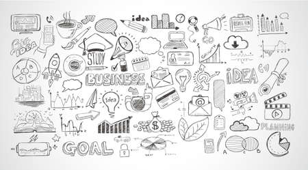 Illustration pour Business doodles Sketch set : infographics elements isolated, vector shapes. It include lots of icons included graphs, stats, devices,laptops, clouds, concepts and so on. - image libre de droit