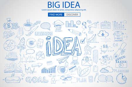 Ilustración de Big Idea  Concept with Doodle design style :finding solution, brainstorming, creative thinking. Modern style illustration for web banners, brochure and flyers. - Imagen libre de derechos