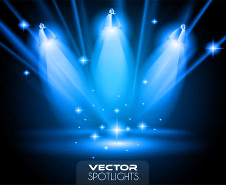 Illustration pour Vector Spotlights scene with different source of lights pointing to the floor or shelf. Ideal for featuring products. Lights are transparent so ready to be placed on every surface. - image libre de droit