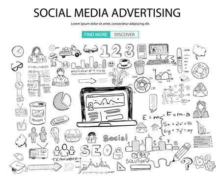 Illustration pour Social Media Advertising concept with Doodle design style: online solution, social media campain, creative ideas,Modern style illustration for web banners, brochure and flyers. - image libre de droit
