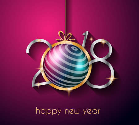 Illustration for 2018 Happy New Year Background for your Seasonal Flyers and Greetings Card or Christmas themed invitations - Royalty Free Image