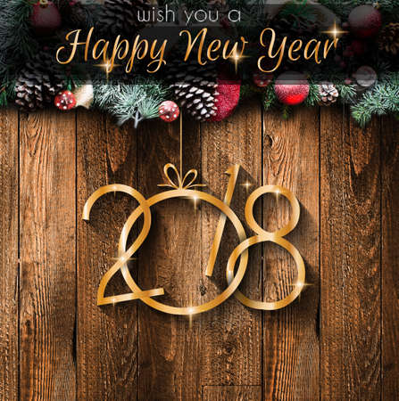 Photo pour 2018 Happy New Year and  Merry Christmas Frame with Snow and real wood green pine - image libre de droit