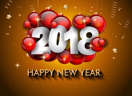 Ilustración de 2018 Happy New Year Background for your Seasonal Flyers and Greetings Card or Christmas themed invitations - Imagen libre de derechos