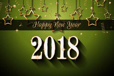 Ilustración de Happy New Year greeting card design. - Imagen libre de derechos