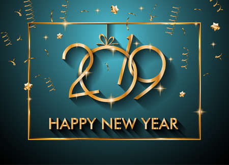 Ilustración de 2019 Happy New Year Background for your Seasonal Flyers and Greetings Card or Christmas themed invitations - Imagen libre de derechos