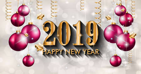 Ilustración de 2019 Happy New Year Background for your Seasonal Flyers and Greetings Card or Christmas themed invitations - Imagen libre de derechos