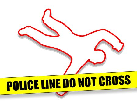 Photo for Police Line Do Not Cross with Body Outline - Royalty Free Image