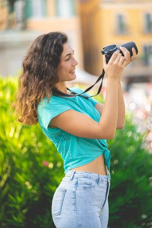Photo for Tourist or professional photographer taking pictures - Royalty Free Image