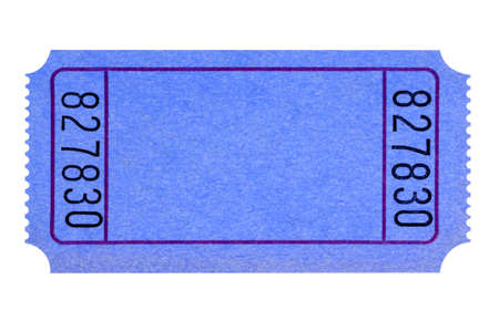 Blank blue ticket isolated on white background.