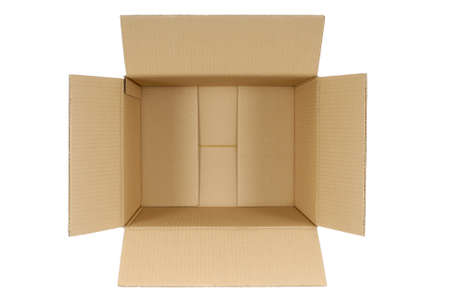Photo pour Top view of an open plain brown blank cardboard box isolated on a white background.  Space for copy. - image libre de droit