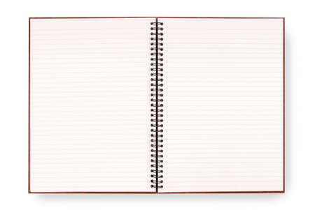 Writing or exercise book with lined blank white pages isolated on a white background.