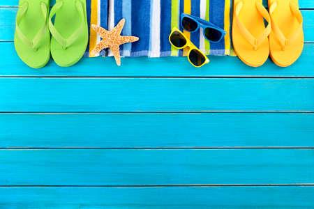 Summer beach background border blue decking copy space