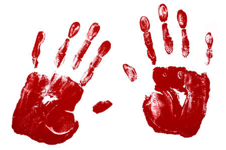 Handprints in reddish brown paint isolated against a white background.