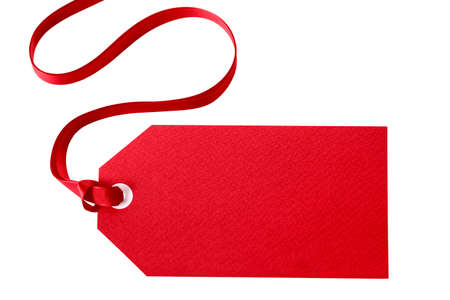 Red gift tag or price ticket with red ribbon isolated on white (with path)