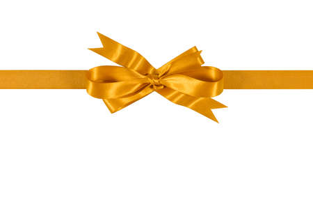 Gold gift ribbon bow isolated on white background straight horizontal