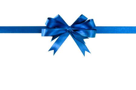 Foto de Blue bow gift ribbon straight horizontal - Imagen libre de derechos
