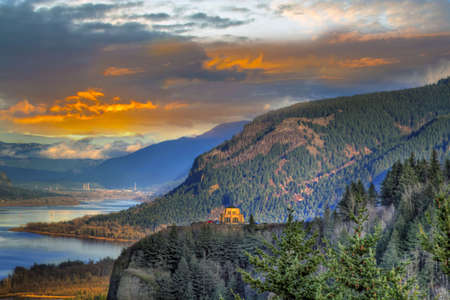 Sunset on Vista House on Crown Point Columbia Gorge