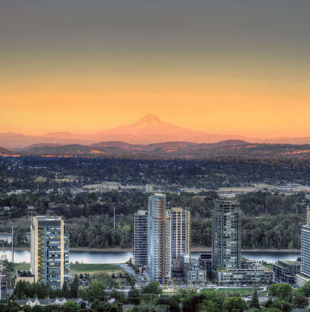 Sunset on Mount Hood and South Waterfront