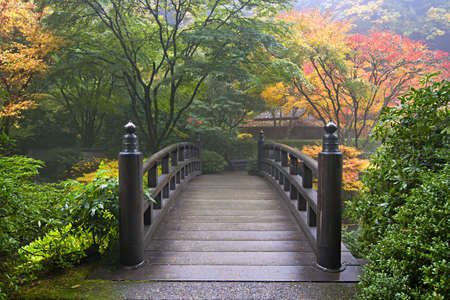 Wooden Bridge at Portland Japanese Garden Oregon in Autumn