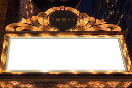 Photo pour Marquee Lights Blank Sign on Broadway Theater - image libre de droit