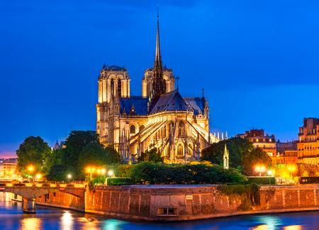 Foto de Ile de la Cite, Paris, France: Night view of Cathedrale Notre Dame de Paris or Our Lady of Paris, a beautiful cathedral and an important example of French Gothic architecture, sculpture and stained glass. - Imagen libre de derechos