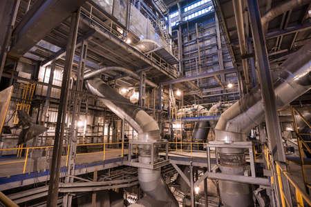 Photo pour Interior of coal power plant. Pipelines in boiler room - image libre de droit