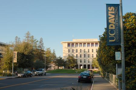 DAVIS CALIFORNIA, NOVEMBER 23 2016,  Looking down the street looking towards Mrak Hall, on the University of California, Davis campus.