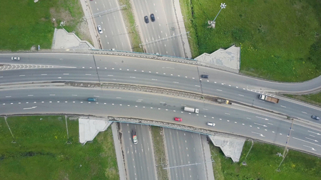Top view at curves and lines of city highway