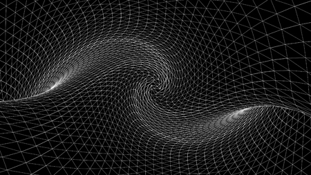 Photo for Abstract geometric curved space of white lines. Animation. Distorted space with three-dimensional textures of monochrome dark space - Royalty Free Image