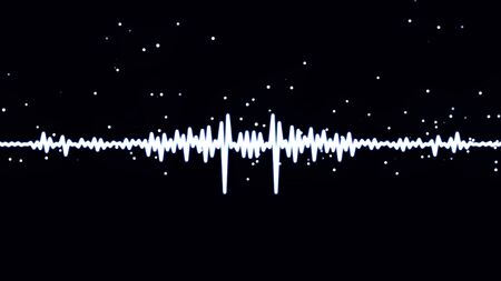 Photo for Monochrome voice record, artificial intelligence, waveform equalizer and visualization of audio wave. White pulsating signal on black background. - Royalty Free Image
