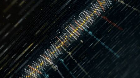 Photo pour Audio sound waveform moving on black background, seamless loop. Animation. Abstract audio signal, communication or social media background. - image libre de droit