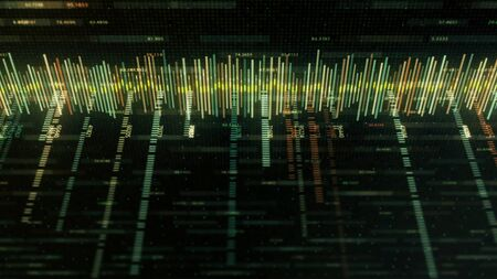 Foto de Abstract colorful equalizer matrix-style on black background. Animation. Music track or business chart with colored strokes and numbers in style of computer matrix. - Imagen libre de derechos