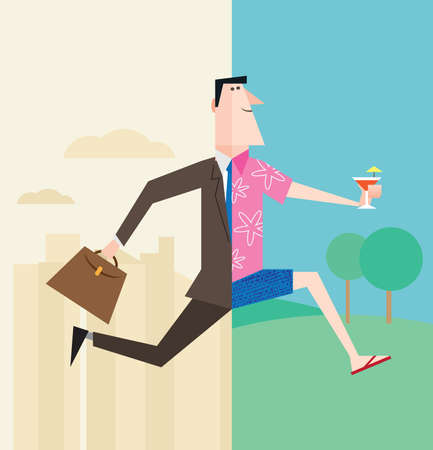 Illustration pour Office worker or businessman running into vacation or weekend or retirement - image libre de droit