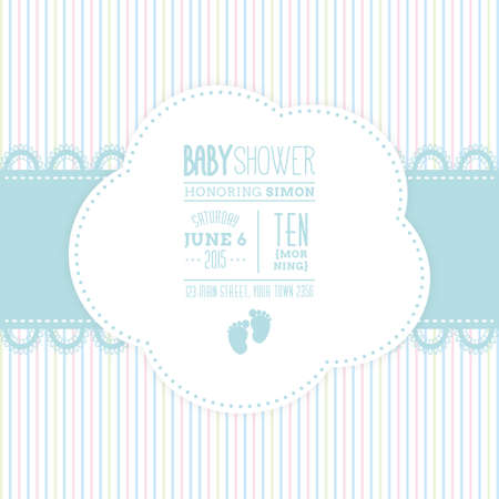 Illustration for Colored background with text and icons for baby showers - Royalty Free Image