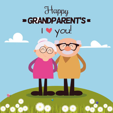 Illustration for abstract happy grandparents with some special objects - Royalty Free Image