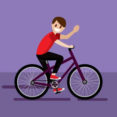 Illustration pour Man in a bike. Bike trips - Vector illustration - image libre de droit