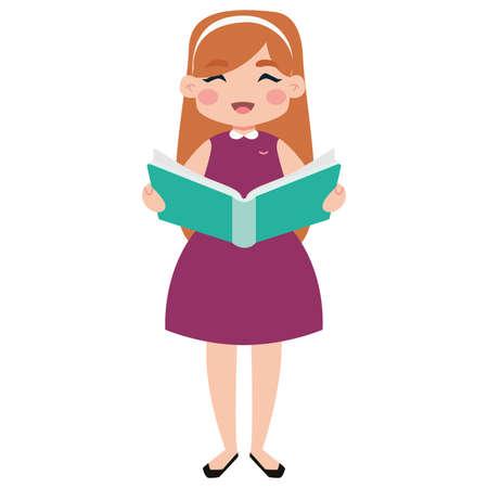 Ilustración de Isolated cute girl reading a book - Vector - Imagen libre de derechos