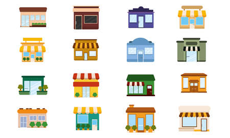 Illustration for Set of shop buildings icons Store structure Vector - Royalty Free Image