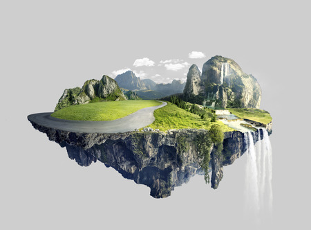 Photo pour Amazing island with grove floating in the air - image libre de droit