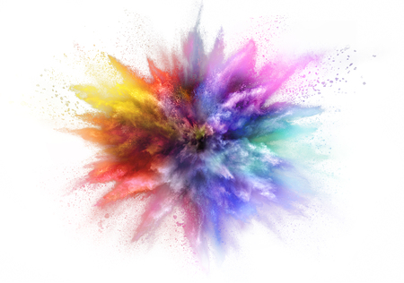 Foto de Freeze motion of colored dust explosion isolated on white background - Imagen libre de derechos