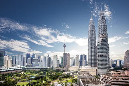 Photo for Nice view of Kuala Lumpur city skyline with nice blue sky - Royalty Free Image