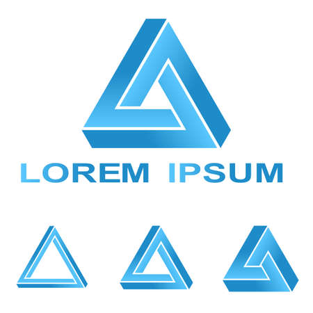 Ilustración de Blue Penrose triangle technology company symbol design set - Imagen libre de derechos
