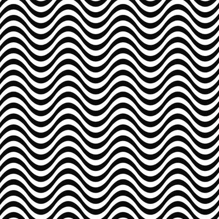 Illustration pour Repeating monochrome 3D wave line pattern design - image libre de droit