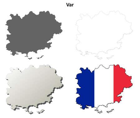 Var, Provence blank detailed outline map set