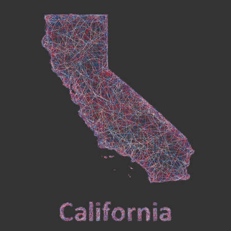California line art map- red, blue and white on black background